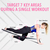 Female performing a kickback with the black (medium/heavy) Vitality Flex Long Fitness Band and an explanation of how to target 7 key areas during a single workout including: glutes, back/shoulders, arms, core muscles, quads, calves, and hamstrings