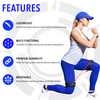 Infographic with a female in a lunge position and a list of features of the Kinetic Bands such as: Lightweight, Multi-Functional, Premium Durability, Breathable