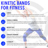 Kinetic Bands for Fitness infographic with female performing a lunge with arms raised wearing the Kinetic Bands, Leg Resistance Bands; highlighting the fitness benefits of cardio, toning and firming, weight loss, strength training, flexibility