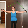 Female using the Space Saver Gym to work out at home