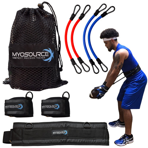 Available in 3 sizes with 2 levels of resistance per set: (1) Small belt with intermediate & advanced resistance bands. (2) Medium belt with advanced & elite resistance bands. (3) Large belt with advanced & elite resistance bands.