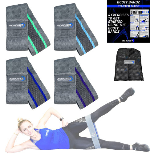 Includes: 4 Resistance Levels to strengthen your legs, hips, and glutes. Each band is charcoal gray on the outside; specifically designed to hide dirt. Handy Travel Bag (breathable mesh to prevent trapping odors between uses).