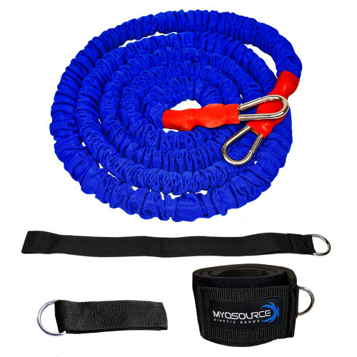 Includes 9-20 ft resistance cord, leg/ankle strap, pole attachment strap, assistor/anchor strap