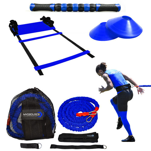 Includes: Acceleration Speed Cord,  KB Quick Step Speed & Agility Ladder (Blue), 10 Training Cones (Blue), Rally Roller - Muscle Roller Stick