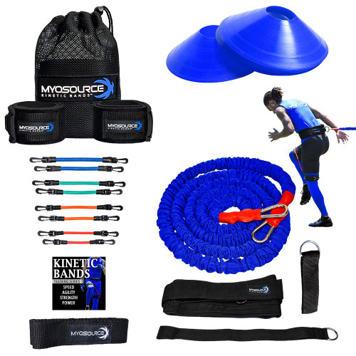 Includes: Kinetic Bands (Leg Resistance Bands), Athletic Stretching Strap, Acceleration Speed Cord, Set of 10 Quick Feet Training Cones