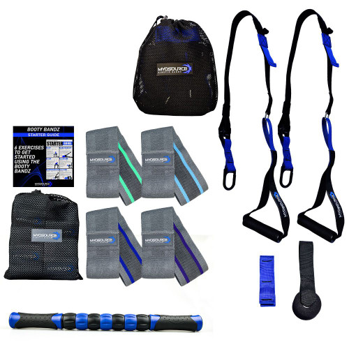 Fall Into Fitness Kit includes: Hip Resistance Bands, Body Weight Suspension Straps, and Muscle Roller Stick