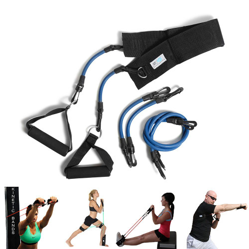 The Upper Body Kinetic Bands set includes: an adjustable back strap; two handles; 3 sets of resistance bands in different lengths; and mesh travel bag.