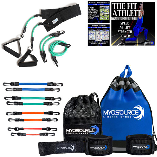 Includes: Kinetic Bands (Leg Resistance & Exercise Bands); KB Upper Body Workout Bands; Speed & Agility Training DVD; Athletic Stretching Strap; Drawstring Backpack.