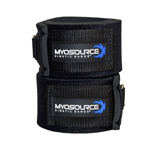 Kinetic Bands leg straps fit on the lower thigh, just above the knee. For use with Myosource Kinetic Bands resistance bands.