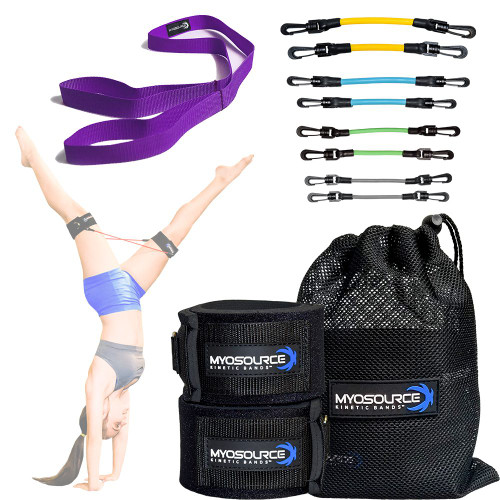 Our Gymnastics Combo includes: A set of Kinetic Bands (2 sizes available) and Stretching Strap (choose from 7 colors)