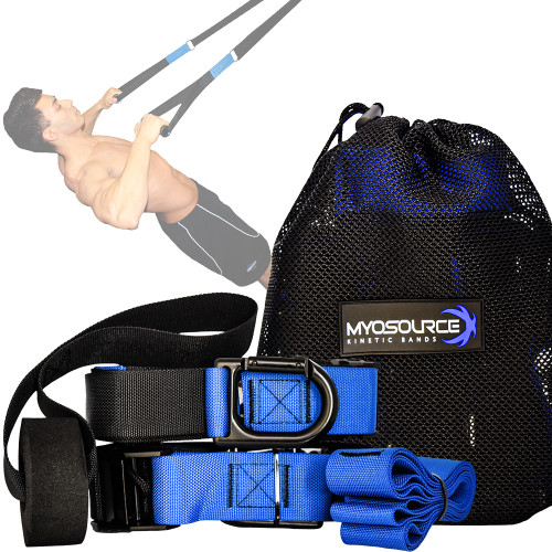 Includes: 2 adjustable nylon suspension straps, 2 comfort grip handles, door mount, mounting strap, handy travel bag.