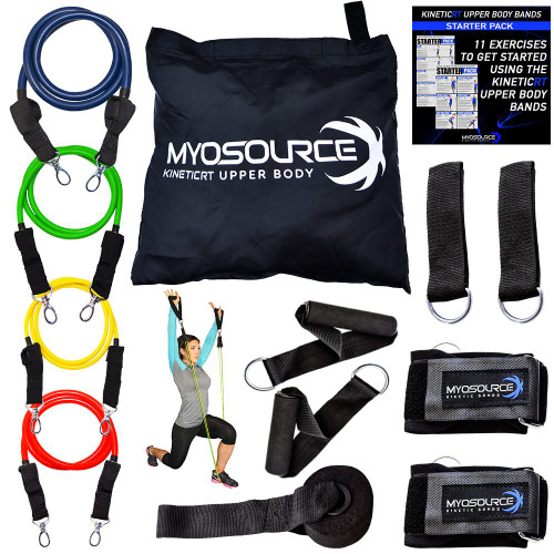 Includes: 4 levels of resistance, 2 handles, door mount, 2 wrist straps, 2 adjustable multi-purpose straps for ankles or pole attachment, mesh carrying bag