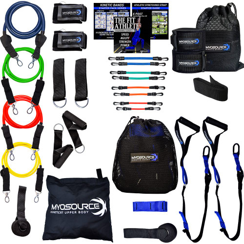 This kinetic resistance training kit includes 3 great resistance training products for a full body workout. Kinetic Bands (leg resistance bands) to strengthen the legs, hips, and core. The Kinetic RT Upper Body with 4 levels of resistance for building upper body strength. The Kinetic RT Suspension Straps for core workout and targeting specific muscles groups to build upper and lower body strength.