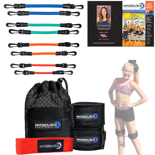 This Dance Combo Includes a set of Kinetic Bands® (2 levels available) for strengthening legs, hips, hip flexors and core muscles plus a Flexibility Stunt Strap, a great stretching and warm up tool for dancers (choose from 7 colors)
