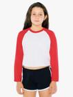 Kids' 50/50 Cropped 3/4 Sleeve Raglan (White/Red)