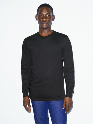 Organic Fine Jersey Crewneck Long Sleeve T-Shirt (Black)