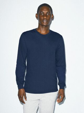 Fine Jersey Crewneck Long Sleeve T-Shirt (Navy)