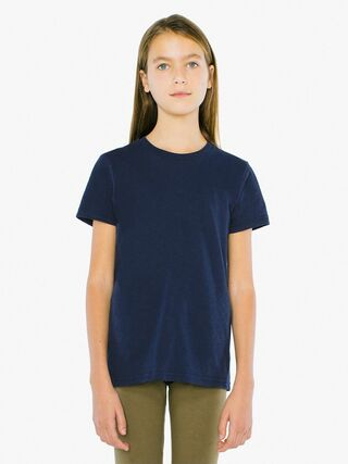 Unisex Youth Fine Jersey Crewneck T-Shirt (Navy)
