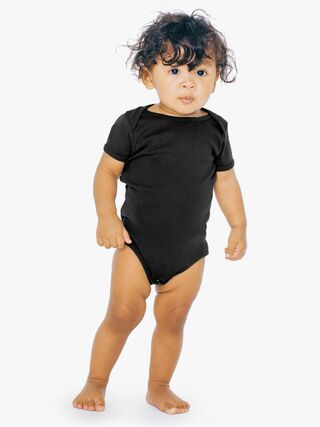 Infant Baby Rib Short Sleeve One-Piece (Black)