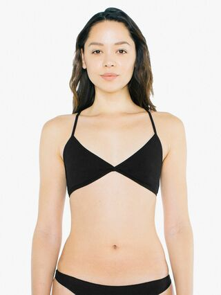 Cotton Spandex Jersey Crossback Bra (Black)