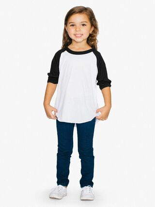 Toddler 50/50 3/4 Sleeve Raglan (White/Black)