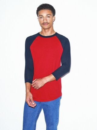 50/50 Raglan 3/4 Sleeve T-Shirt (Red/Navy)