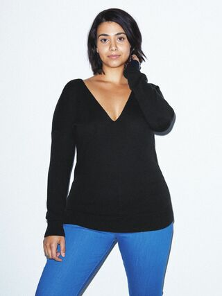 Basic Knit V Sweater (Black)