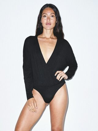 Mix Modal Long Sleeve Drape Bodysuit (Black)