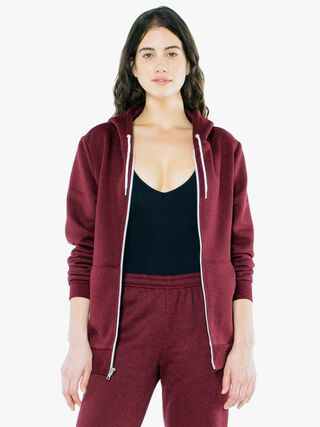 Unisex Peppered Fleece Zip Hoodie (Peppered Cranberry)