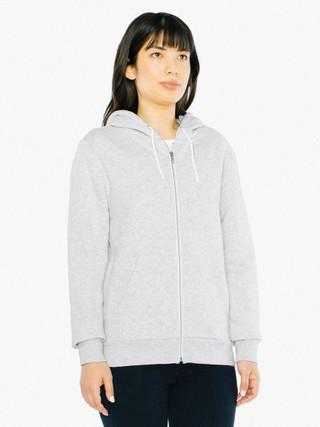 American Apparel MT497 Sweat /à capuche unisexe avec fermeture /éclair en m/étal blanc avec cordon de serrage en polyester