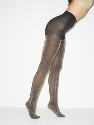 Metallic Pantyhose (Black/Gold)