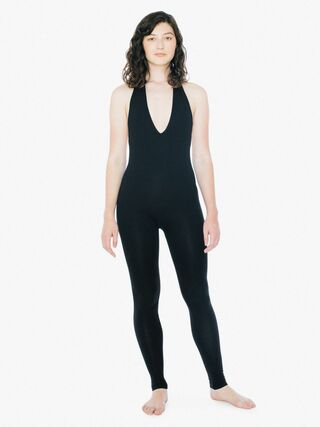 Inky Black Cotton Jumpsuit Catsuit with Structured Bodice