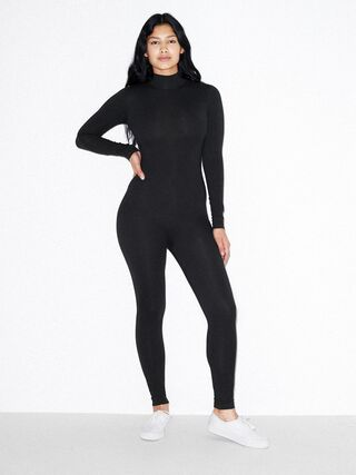 Cotton Spandex Turtleneck Catsuit (Black)
