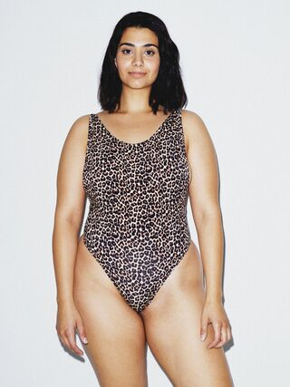 Cotton Spandex Deep Cut Bodysuit (Cheetah)