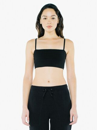 Cotton Spandex Super Crop Spaghetti Tank (Black)