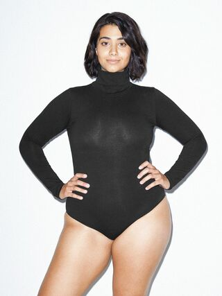 Cotton Spandex Turtleneck Bodysuit (Black)