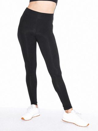 Cotton Spandex Jersey High-Waist Leggings (Black)