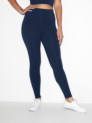 Cotton Spandex Jersey High-Waist Leggings (Navy)