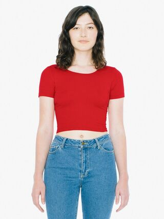 Cotton Spandex Jersey Crop T-Shirt (Red)