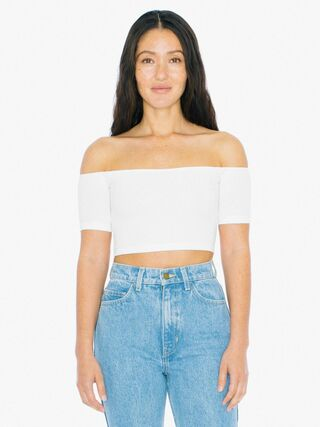 Cotton Spandex Off-Shoulder Top (White)