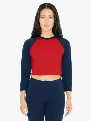 50/50 Cropped 3/4 Sleeve Raglan (Red/Navy)