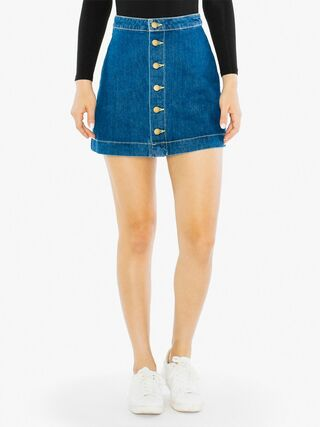 Denim Button Front A-Line Mini Skirt (Medium Wash)
