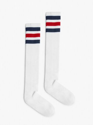 Stripe Knee-High Sock (White/Navy/Red/Navy)
