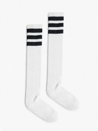 Unisex Stripe Knee-High Sock (White/Black)