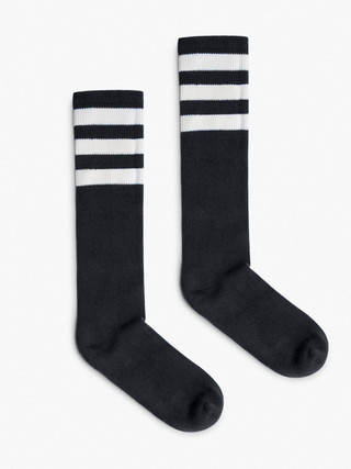 Stripe Calf-High Sock (Black/White)