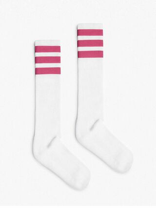 Unisex Stripe Calf-High Sock (White/Pink)