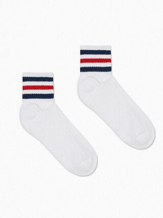 Striped Ankle Socks (White/Navy/Red/Navy)