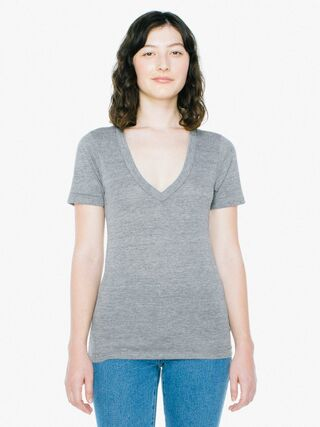 Unisex Tri-Blend Deep V-Neck T-Shirt (Athletic Grey)