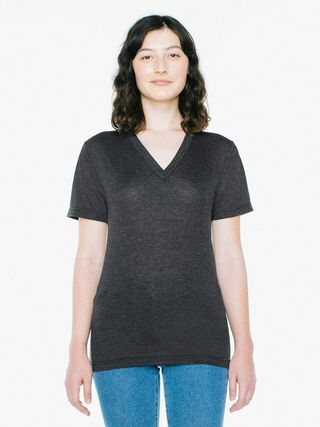 Unisex Tri-Blend V-Neck T-Shirt (Tri-Black)