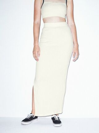 Thick Rib Maxi Skirt (Star White)